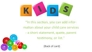 Child Care Business Cards Template 7 Child Care Owner