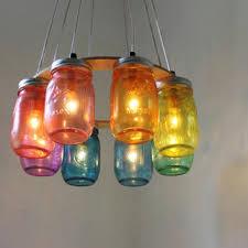 rainbow connection mason jar chandelier upcycled hanging mason