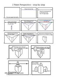 how to draw 2pt perspective step by step esl worksheets