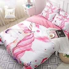 unicorn fl cartoon bedding set pink girl cute duvet cover sets twin full queen king size quilt cover set girls beddings canada 2019 from hybeddings