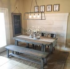 Farmhouse Shabby Chic Dining Table Rustic Wood Picnicstyle Table - Dining room lighting