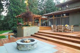 awesome a 1700 square foot 2 level deck outdoor kitchen and firepit with regard to fire pit pad wood plans