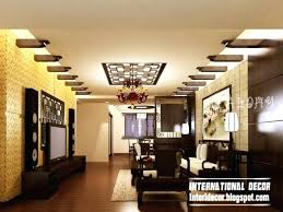 false ceiling design for rectangular living room with two fans