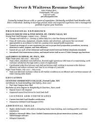 Waiter Resume Examples Gorgeous Waitress Resume Sample No Experience Waitressing On Server Download