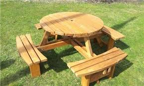 round picnic table with benches treated 8 seat round picnic table table top outdoor picnic table
