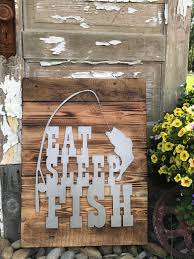 eat sleep fish fishing decor rustic farmhouse style decor country style fixer upper mancave wall art woodland nursery boys room bass