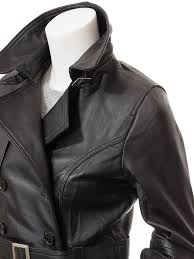 womens black leather trench coat columbia side