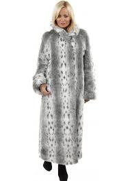 grey lynx print soft faux fur full length coat