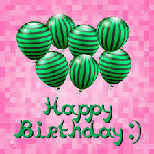 happy birthday pink and green happy birthday card birthday background with watermelons balloons