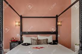 Canopy Bed In Moroccan Luxury Hotel Stock Photo, Picture And Royalty ...