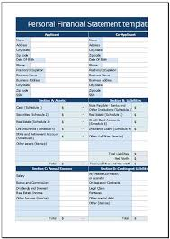 Free Personal Financial Statement Template For Excel 2007 - 2016
