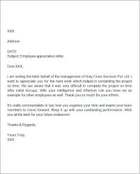 sample of appreciation letter appreciation letter to employee employee appreciation letter sample