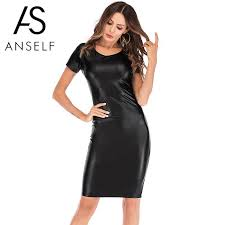 y women faux leather dress leather look short sleeve round neck spring pencil dress 2019 new con midi party black long dresses dr ess from