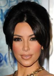 kim kardashian celebrity makeup looks beautiful hairstyle with smoky eyes on cleared face vivella zapparoli for olive skin tones