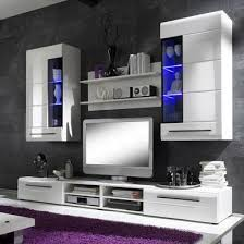 tv living room furniture. Invictus Wall Mounted TV Unit Living Room Set In White High Gloss And LED Lights Tv Furniture