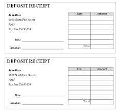 Deposit Templates Receipt Of Deposit