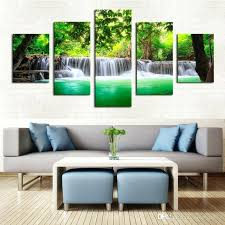 custom canvas wall art unframed 5 panels green waterfall scenery canvas print painting modern canvas wall art for wall home decor artwork with piece