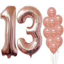 <b>Rose Gold 13</b> Number Balloons - Large, 1 and 3 Mylar <b>Rose Gold</b> ...