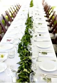 Green and White Salal table runner - simple table setting