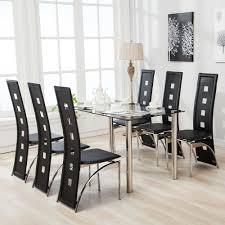 7 Pece Dnng Table Set And 6 Chars Black Glass Metal Kitchen Boss