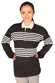 black white striped rugby shirt
