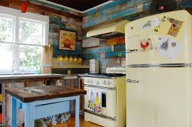 Delightful Colorful Farmhouse Kitchen Shabby Chic Style With Modern Stove Modern Stove  My Houzz