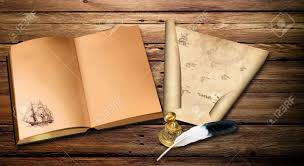 old sea map and old book on a old wooden table stock photo 35596414