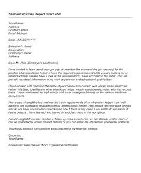 Entry Level Apprentice Electrician Cover Letter Sample Free