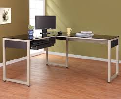 white polished metal movable computer desk with wheels and black glass top wonderful l shaped