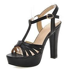 Smilice Women High Block Heel Gladiator Sandals Buckle T