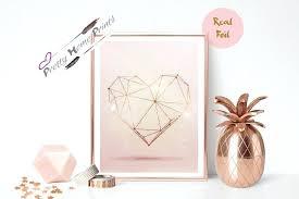 rose gold wall art geometric heart gold foil print vintage foil rose gold wall art copper on rose gold wall art metal with rose gold wall art geometric heart gold foil print vintage foil rose