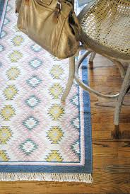 colorful kitchen runner with navy blue pink and yellow