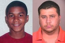 Trayvon Martin next to his murderer, George Zimmerman.