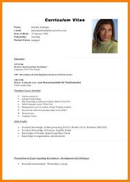 7 Curriculum Vitae In English Pdf Day Care Receipts