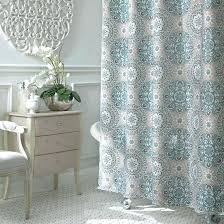 white fabric shower curtains ivory leaves embroidered