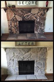 update your outdated fireplace it s so easy to do with only 20 love chalk paint i also painted the mantle with chalk paint then distressed i