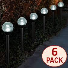 Crackle Glass Globe Solar Lights Solar Powered Black Path Lights 2 5 Crackle Glass Path