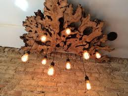 large live edge olive wood chandelier with edison bulbs rustic contemporary industrial