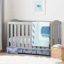 south s angel soft gray and blue crib with toddler rail and little whale 4