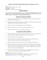 Medical Receptionist Job Description Receptionist Duties For Resume Resume Badak 18