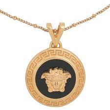 versace metallic medusa necklace black tribute gold lyst view fullscreen