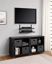 ideas double small black wooden wall mounted with black handler also tv intended for proportions