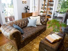 Tufted Leather Sofa Living Room