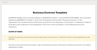 Employment contract template   template business. How To Sign A Business Contract Via Pandadoc