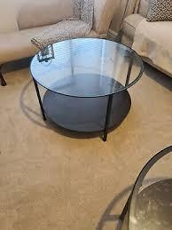 circular glass table black metal frame