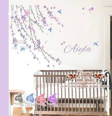 baby girls wall decals baby girl flower wall decal nursery wall decal and birds pink cherry