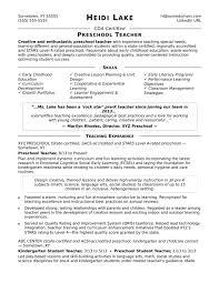 Preschool Teacher Resume Sample Monster Com Model Format For