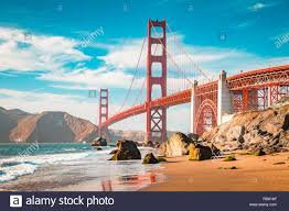 Blue Light In San Francisco Sky Classic View Of Famous Golden Gate Bridge In Beautiful