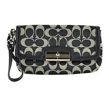COACH KRISTIN SIGNATURE LARGE FLAP WRISTLET~SV BLACK WHITE BLACK F48980
