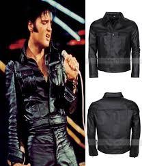 elvis presley rockstar mens celebrity fashion vintage black biker leather jacket 789058387522